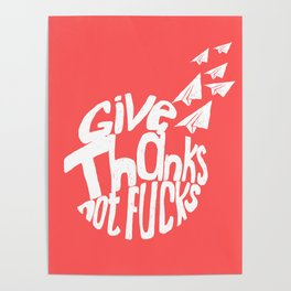 Give Thanks White Doodle Poster