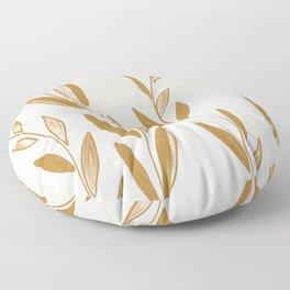 Golden leaves and stems Floor Pillow
