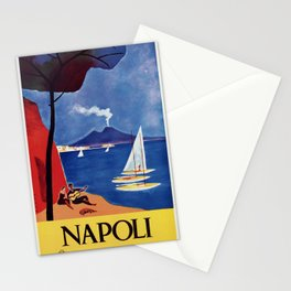 Napels Italy retro vintage travel ad Stationery Cards