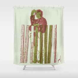 Billygoat with a blowtorch Shower Curtain