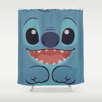 stitch Shower Curtains featuring Stitch Love by Pink Berry Patterns