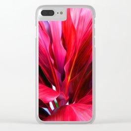Red Ti Leaf Clear iPhone Case