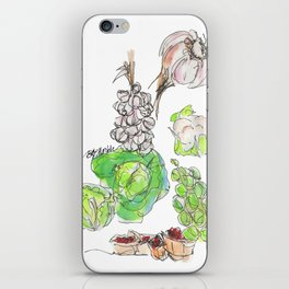 Fresh II: a watercolor of the bounty at Quebec City's farmers' market iPhone Skin