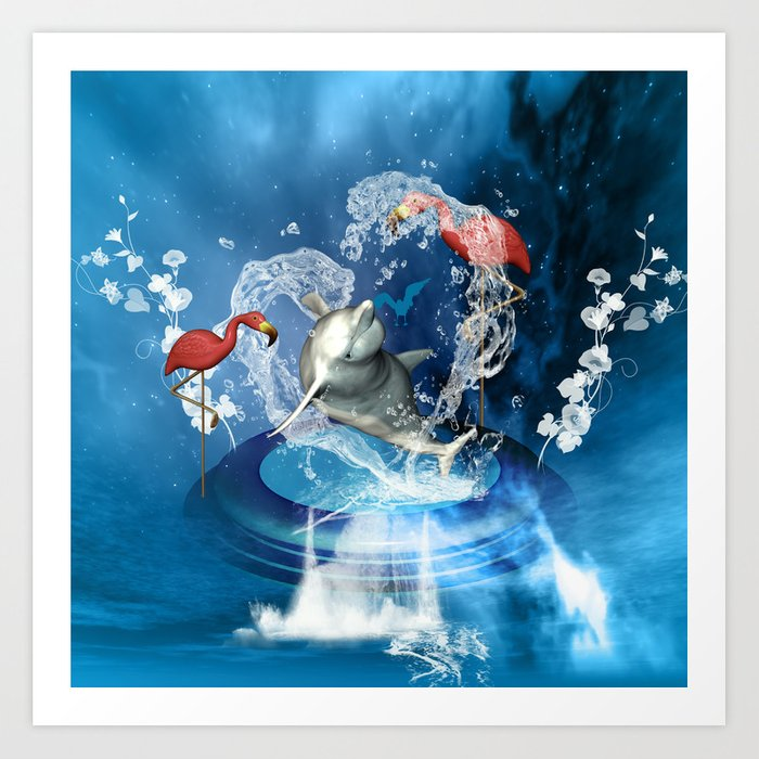 Dolphin jumping by a heart Art Print