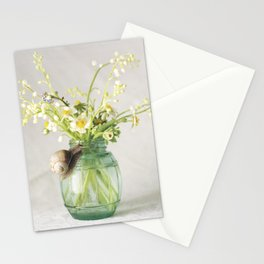 Spring bouquet with a snail - analog floral photography Stationery Cards