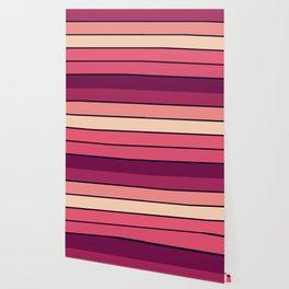 StrIpes Mauve Pink Burgundy Wallpaper