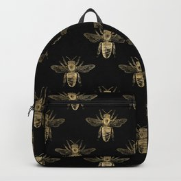 Black and Gold Bee Pattern Backpack