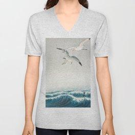 Seagulls over a stormy sea - Vintage Japanese Woodblock Print Art Unisex V-Neck