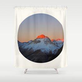 Mid Century Modern Round Circle Photo Sunrise Over Snowy Mountains Shower Curtain