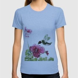 Razzberry Hummingbird watercolour by CheyAnne Sexton T-shirt