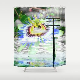 High Voltage on passionflower Shower Curtain