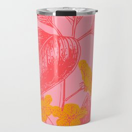 Modern Botanical Leaves in Pink Travel Mug