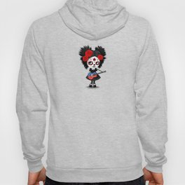 Day of the Dead Girl Playing Haitian Flag Guitar Hoody