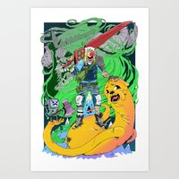 beemo Art Prints featuring Finn & Jake by Rob S