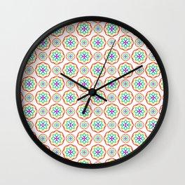 Geometrical red pink orange teal fractal circles pattern Wall Clock