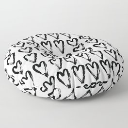 Black & White-Love Heart Pattern - Mix & Match with Simplicty of life Floor Pillow