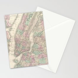 Vintage Map of NYC and Brooklyn (1865) Stationery Cards