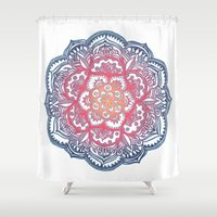 bedding Shower Curtains featuring Radiant Medallion Doodle by micklyn