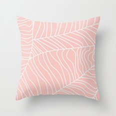 TROPICAL LEAVES - pink palette Throw Pillow