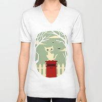 yetiland V-neck T-shirts featuring Let's meet at the red post box by Yetiland