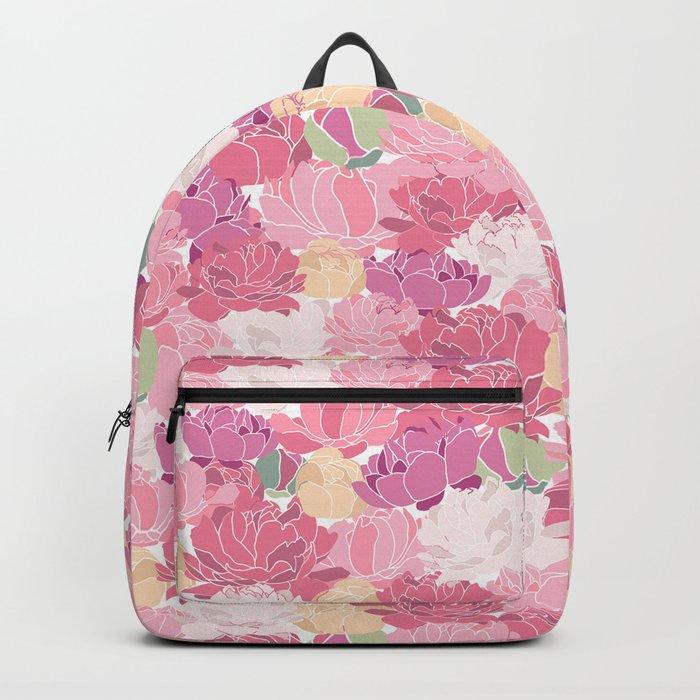Rose Peony Flowers Backpack
