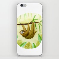 sloth iPhone & iPod Skins featuring Sloth by Kirsten Sevig