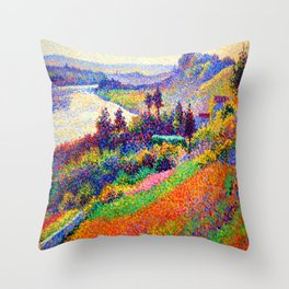 Maximilien Luce Seine at Herblay Throw Pillow