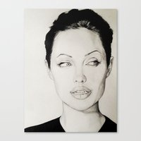 angelina jolie Canvas Prints featuring Angelina Jolie by alittleart