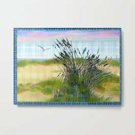 Plaid Beachscape with Seagrass Metal Print