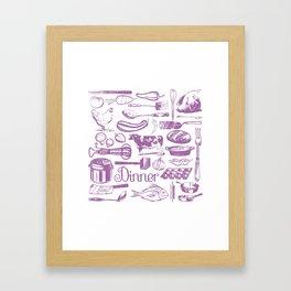 Retro Dinner - White Framed Art Print