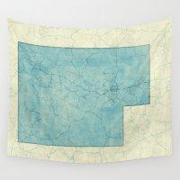 utah Wall Tapestries featuring Utah State Map Blue Vintage by City Art Posters