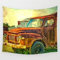 truck Wall Tapestries featuring Old Rusty Bedford Truck by Wendy Townrow