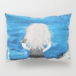 Blue Sky and the Future Painting by Jodi Tomer. Blonde Girl Portrait Pillow Sham