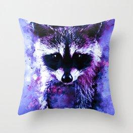 raccoon watercolor splatters blue purple Throw Pillow