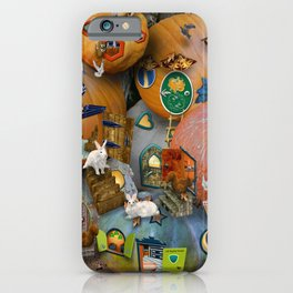 Fall Pumpkin Fantasy Tiny House Village iPhone Case