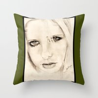 buffy Throw Pillows featuring buffy by als3