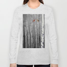 Red Cardinals in Birch Forest A128 Long Sleeve T-shirt