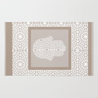 islam Area & Throw Rugs featuring Hamsa in morrocan pattern by Heaven7