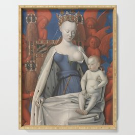 Madonna And Child By Jean Fouquet 1452 Serving Tray