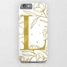 Letter L Gold Monogram / Initial Botanical Illustration iPhone Case