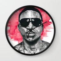 gucci Wall Clocks featuring Gucci Mane by Nicola MacNeil