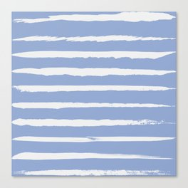 Irregular Hand Painted Stripes Light Blue Canvas Print