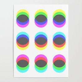 CMYK in RGB Circles Poster