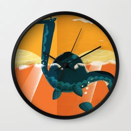 Loch ness Scotland highlands vintage travel cartoon, Wall Clock