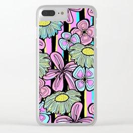 Pinstriped Florals in Pink & Aqua Clear iPhone Case
