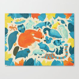 Wildlife Collage Woodland Creatures and Cute Animals Canvas Print