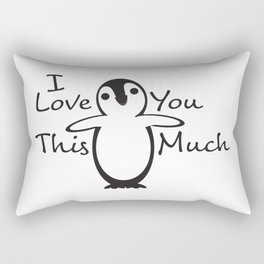 Black White Penguin I Love You This Much Rectangular Pillow