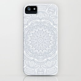Light Gray Ethnic Eclectic Detailed Mandala Minimal Minimalistic iPhone Case