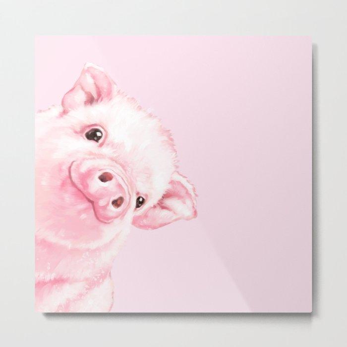 Sneaky Baby Pink Pig Metal Print