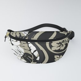 Traditional Hawaiian Print with Floral Accent Fanny Pack